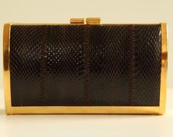 Hard case python leather/metal clutch