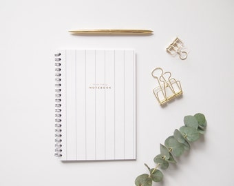 Daily To Do List notebook, To Do Today Stripe Notebook, minimal simple notebook, gold foil stripes white