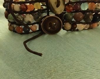 Layered beaded leather cuff
