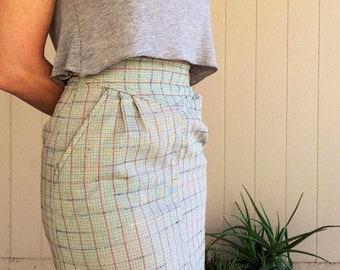 Vintage Plaid High Waist Wiggle Pencil Skirt
