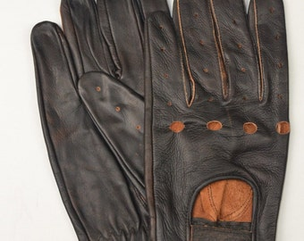Brown Leather Men's Driving gloves OR Motorcycle gloves with free shipping