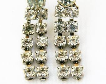 "Vintage Rhinestone Fringe Statement Earrings Dangle Drop Stud Silver Tone 1.25"""