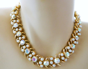 "Vintage 60s Aurora Borealis Rhinestone Choker Necklace Faux Pearl 15.5"" Gold Tone Adjustable Mid Century Costume Estate Jewelry"