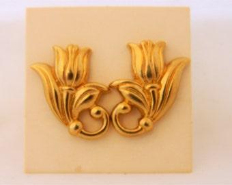 """Vintage Avon Earrings, Vintage Tulip Earrings, Tulip Earrings, Art Deco Style, Pierced Ears, Stud Earrings, Gold Tone, 1"""""""