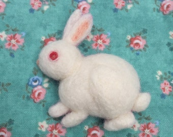 White Rabbit Needle-felt Wool Brooch
