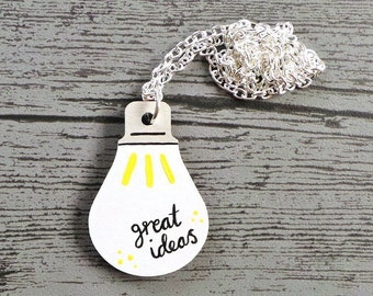 Light Bulb Necklace, Wood Lightbulb Necklace, Hand Painted Necklace, Geeky Gift, Science Gift, Great Ideas Jewellery, Wood Pendant, Unique