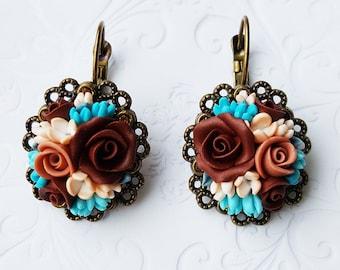 Roses, earrings, clay