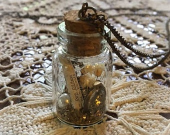 Customizable Message Found Things Message in a Bottle Necklace ~Dried Flowers~ Vintage Inspired~