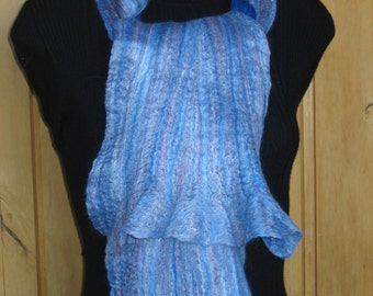 Top Merino Wool Felted Scarf; Hand Felted Scarf