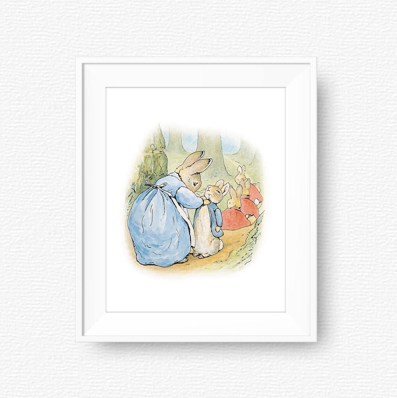 Peter rabbit nursery wall art beatrix potter nursery art - Peter rabbit nursery border ...