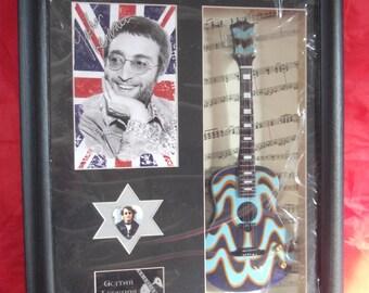 John Lennon Framed Guitar & Plectrum Presentation  **Last One**