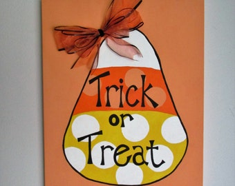 "Trick or Treat - 16"" x 20"" Acrylic on Stretched Canvas featuring a Handmade Bow"