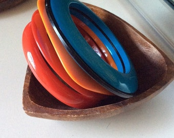 1960's mod red, orange and blue bangle set