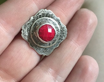 Victorian inspired sterling silver and pigeon blood ruby ring