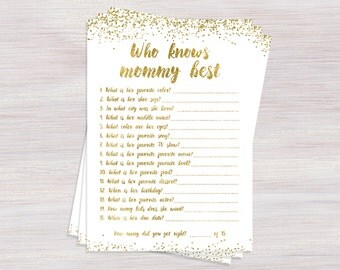 Who Knows Mommy Best, Funny Baby Shower Games, Printable Baby Shower game ideas, Gold Confetti baby shower themes, How Well Do You Know Mom