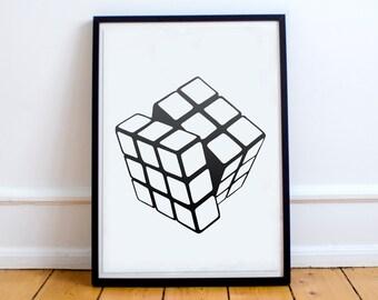 Rubiks Cube art poster, Black and white printable art, Playroom wall art, Office wall decor, Minimalist poster