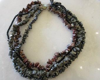 Vintage 4 strand stone necklace. 18 inch.