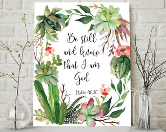 Bible Verse Art Print, Printable Scripture, Christian Art, Nursery Bible Verse, Be Still and Know That I Am God, Psalm 103, Scripture Art