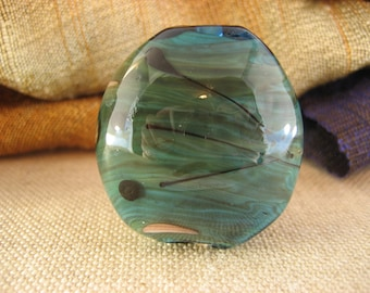 Lampwork glass bead - blue, green (001-02W4)
