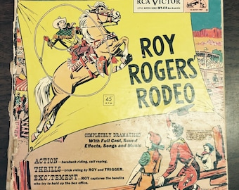 Roy Rogers Rodeo story book with 45  RPM record set