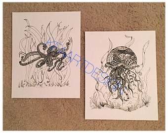 8x10 ultra cardstock octopus and jellyfish