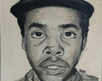 "Earl Sweatshirt 7""x7"" charcoal portrait Original"