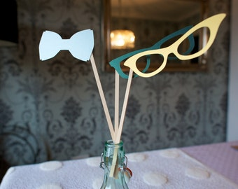 Geeky-Cool Mixed Props Set; Photobooth Props, Face Props, Glasses, Bowtie