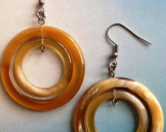 Double horn ring earrings