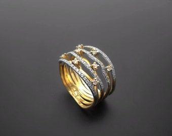 VA001,Diamond Ring, 14k Yellow Gold, 14k White Gold