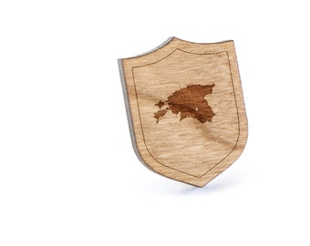 Estonia Lapel Pin, Wooden Pin, Wooden Lapel, Gift For Him or Her, Wedding Gifts, Groomsman Gifts, and Personalized
