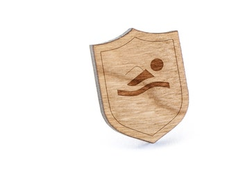 Swimmer Lapel Pin, Wooden Pin, Wooden Lapel, Gift For Him or Her, Wedding Gifts, Groomsman Gifts, and Personalized