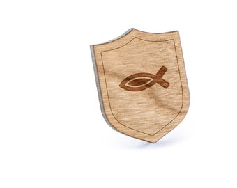 Christian Fish Lapel Pin, Wooden Pin, Wooden Lapel, Gift For Him or Her, Wedding Gifts, Groomsman Gifts, and Personalized
