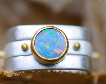 Interchangeable opal double square ring, Silver ring with opal doublet in 22k gold bezel with separate silver band with gold granules