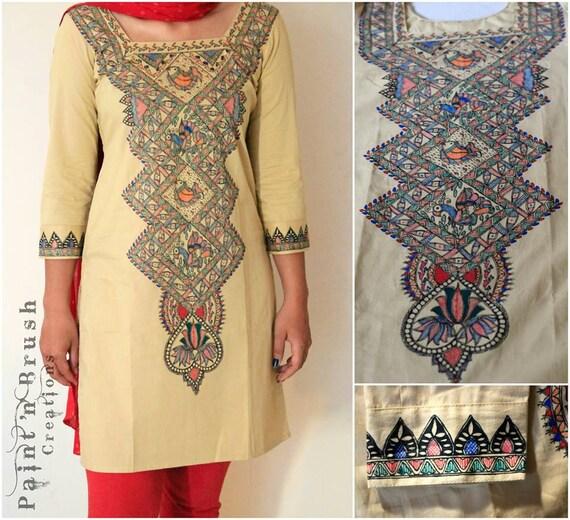 Items similar to Handpainted Madhubani Designed Kurti ...