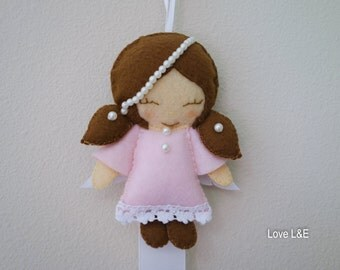 Hair bow holder, Hair bow organizer- Pink angel