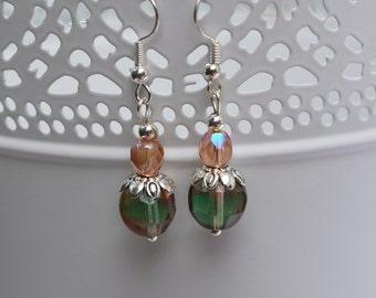 Peach and green beaded earrings