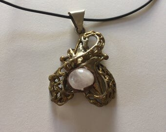 Artsy Vintage Heavy White Quartz Base Metal Pendant Necklace