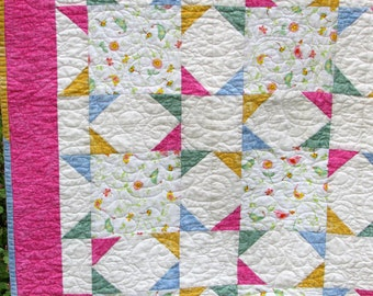 Handmade Baby Quilt - Stars, Bird and Flowers / Baby Quilt / Baby Shower Gift / Baby Gift / Baby Blanket / Gift for Baby / Baby Girl Quilt