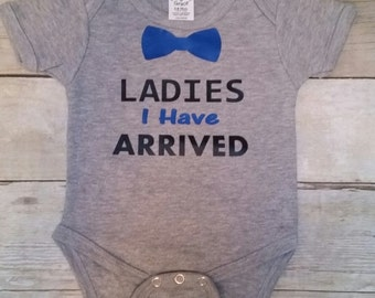 Baby jumpsuit,baby oneies, infant clothing, baby boy clothing, baby shower gifts, I have arrived, new born baby cloting, bow tie bodysuit