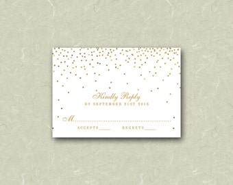 "3.5"" x 5"" Vintage Glam Gold Confetti White Wedding RSVP Card Digital File"