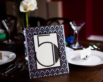 Deco Elegance Vintage Wedding Table Number Frame - Black and Silver Glitter Fans - 1920s 1930s Great Gatsby Art Deco Style