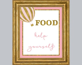 Baby Shower Food Sign, Buffet Sign, Pink and Gold Food Sign, Appetizers Sign, Help yourself, Baby shower Decorations, Pink Sign, Printable