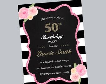 50th birthday invitation, flowers invitation, birthday party, birthday invitation, floral invite, stripe, black and white, digital file