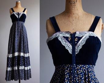 1970s Gunne Sax Style Maxi Dress