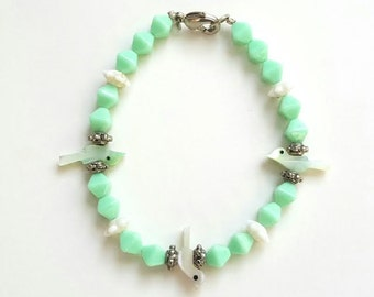 Light Green/Seafoam/White Bird Bracelet