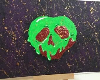 5x7 Glow in the dark poision Apple Painting-Fine Art Original