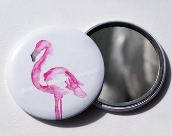Pocket mirror 56mm - Pink flamingo
