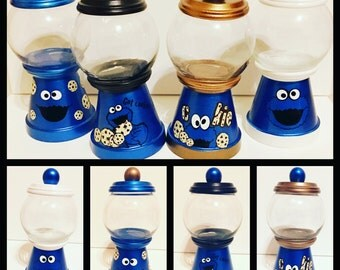 Cookie Monster inspired gumball jars