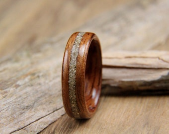 Wooden Ring Bubinga with Silver German Glass Inlay- Handcrafted Bentwood Ring