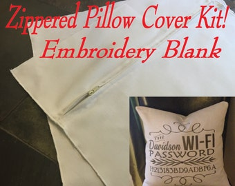 Zippered Pillow Cover Kit! Embroidery Blank - Differecnt colors and sizes - Pillow insert not included